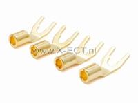 Connectors Spade gold GTY      4 stuks  Spade gold